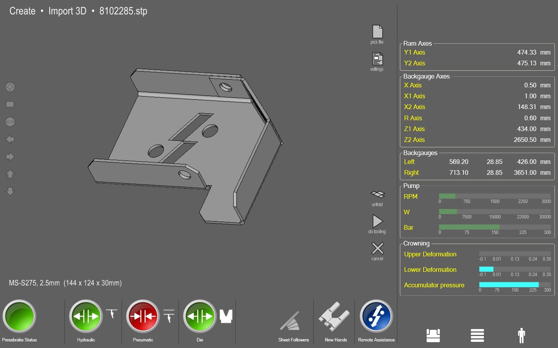 3D-File Import in die CNC der Abkantpresse